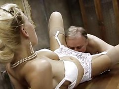 Busty blonde gets fucked by old man