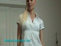Platinum blonde chick lapdances on huge dick