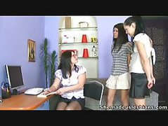 Sexy Lesbian Chicks Seduced Their English Teacher.