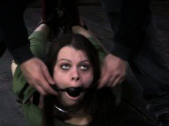 Naughty submissive gagged and hogtied