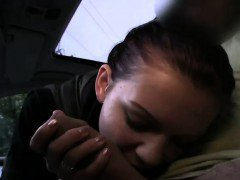 Redhead Czech babe blowjob in car in public