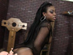 Black glamour babe makes dude eat her
