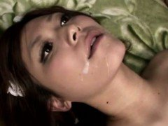 Asian frenchmaid living doll gets facial