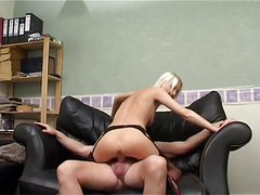 Blond wife slut has fuck on the sofa