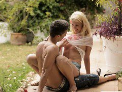 Tight teen Izzy Delphine sucks cock and fucked outdoors