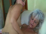 OldNanny Old skinny woman with strapon pretty girl and guy