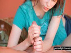 Nasty teen gives foot and handjob