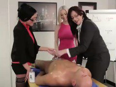 Three British matures give CFNM guy a handjob