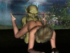 Hot 3D cartoon blonde babe fucked by a goblin