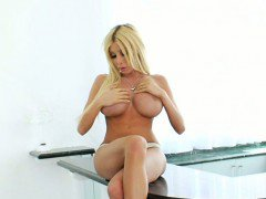 Huge boobs blonde tranny Kimber James anal pounded