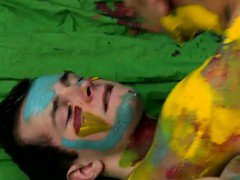 Gay XXX Splashed and smeared with colorful smudges the boys