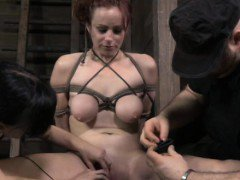 Redhead sub getting rough treatment by two masters