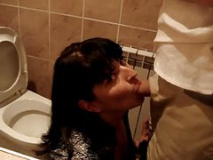 Russian girl suck cock in public toilet