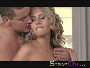 StrapOn Blonde babe in first time double penetration experience
