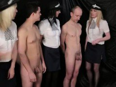 CFNM guys get handjobs from British lady coppers