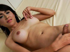 Sexy big tits shemale Sweet A solo masturbation in bed