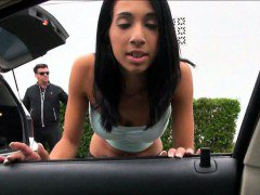 Hot Latina Mia Hurley walks in the street with cum on face