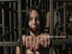 Female slave gets her nipples clamped