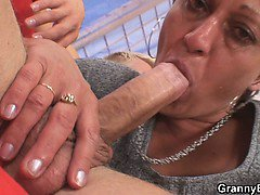 Old granny rides neighbour\'s big cock