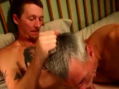 Old gay guy masturbating over an amateur