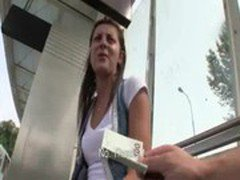 Pretty amateur girl gets fucked while waiting for the tram