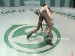 African beauty queen wrestles a blonde
