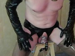 Chastity belt hands free prostate orgasm in gasmask