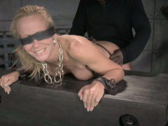Tied down bdsm Simone Sonay spit roasted