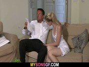 He leaves and she jumps on his dad039s cock