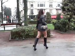 Hooker public walking thigh high boots sexy outfit