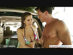 Big Titted Alex Chance Swallows Cum In The Van