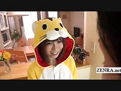 Subtitled POV Japanese Blowjob Cosplay In The Kitchen