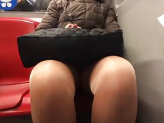 mature upskirt legs tights in metro part 3