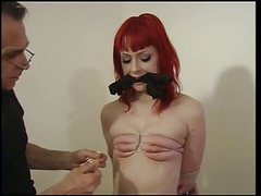 Small tits redhead ends up with clothes pegs over her small tits