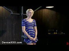 Restrained blonde with gag ball in her mouth clit vibed and hard flogged