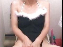 Sweet Asian In Bunny Ears Masturbates On Toilet