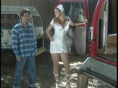 Smokin' blonde nurse gives head and bangs patient in back of a van