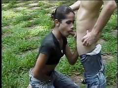Sexy young tranny sucks and gets sucked before taking cock outdoors