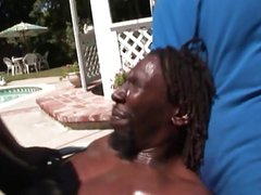 Rast dude fucking sexy black honey by the pool