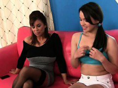 Lesbian tempting mom strips for sex with a teen school girl