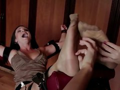 Nylon slut restrained and tickled