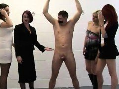 Bound man gets handjob from naughty CFNM women