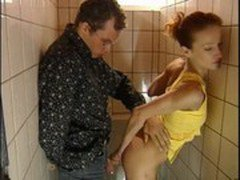 Galina fucks stranger in toilet bar