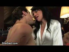 Glamour brunette tranny fucks guy