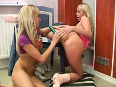 Young lesbos having joy in locker room