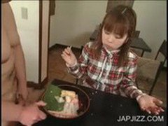 Cute japanese eating jizz