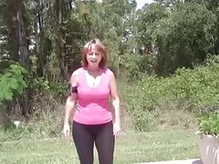 Mature woman skating in fast motion