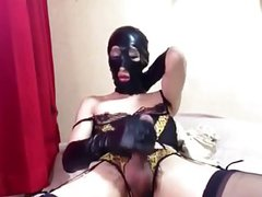 Japan Crossdresser in Latex Mask Strokin