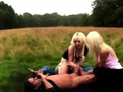 CFNM British girls stripping dude outdoors for a blowjob