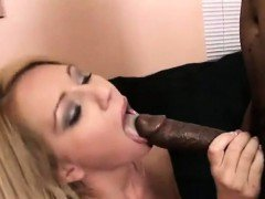Peppy White Bimbo Gets Her Booty Fucked By A Black Man